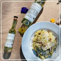 ziti rigati with fava bean pesto guanciale & pecorino romano